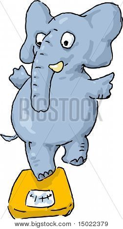 Balancing overweight elephant on weighing scale machine cartoon illustration