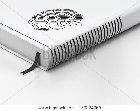 Science concept: closed book with Black Brain icon on floor, white background, 3D rendering