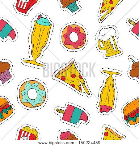 90S Retro Fast Food Patch Icon Seamless Pattern