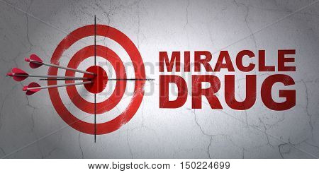 Success Medicine concept: arrows hitting the center of target, Red Miracle Drug on wall background, 3D rendering