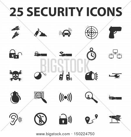 Security, police, protection 25 black simple icons set for web design
