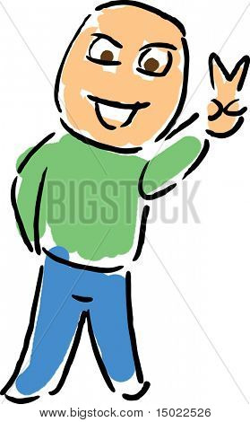 Cartoon man flashing victory or peace hand signal illustration