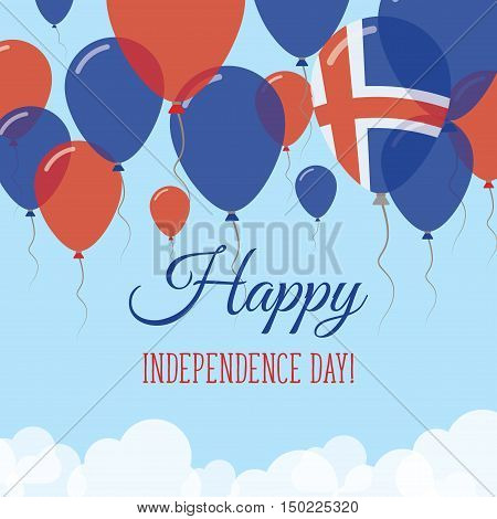 Iceland Independence Day Flat Greeting Card. Flying Rubber Balloons In Colors Of The Icelander Flag.
