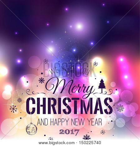 Christmas And New Year Typographical On Colorful Xmas Background