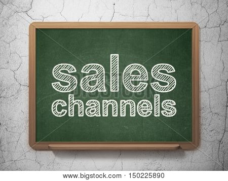 Advertising concept: text Sales Channels on Green chalkboard on grunge wall background, 3D rendering