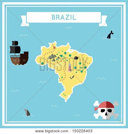 Flat Treasure Map Of Brazil. Colorful Cartoon With Icons Of Ship, Jolly Roger, Treasure Chest And Ba