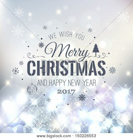 Christmas And New Year Typographical On Silver Xmas Background W