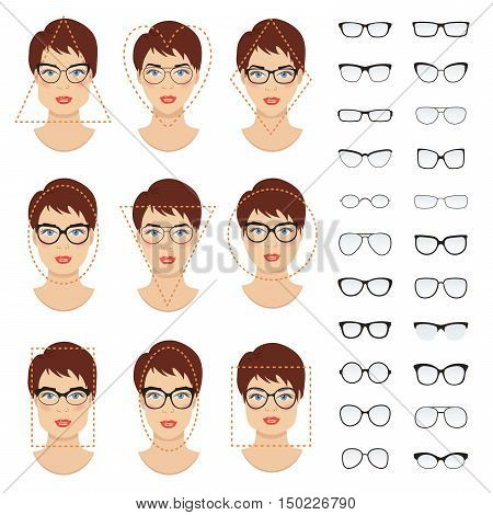 Woman glasses shapes for different women face types - square, triangle, circle, oval, diamond, long, heart, rectangle. Vector icon set. All glasses with translucent glass.