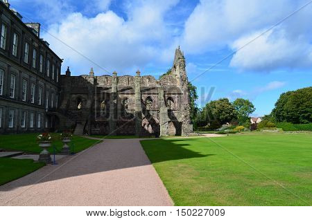 A look at the ruins of Holyrood Abbey and Holyrood Park in Edinburgh Scotland.