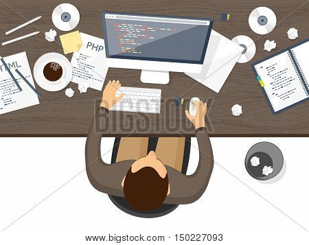 Programming, coding. Flat computing background. Code, hardware, software. Web development. Search engine optimization Innovationtechnologies Mobile app Vector illustration SEO