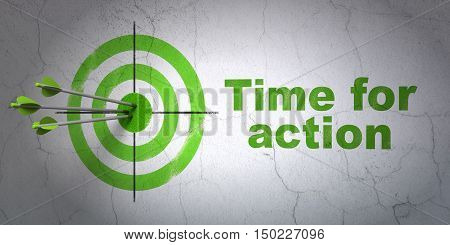 Success timeline concept: arrows hitting the center of target, Green Time For Action on wall background, 3D rendering