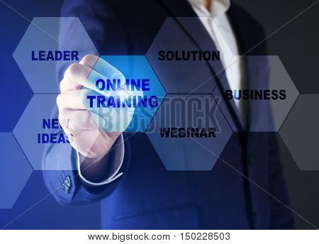 Businessman pushing ONLINE TRAINING button on virtual screen. Business coaching and modern technology concept.