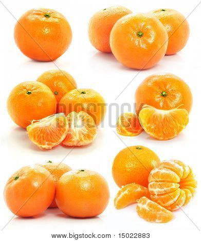 set of mandarine fruits isolated food on white background