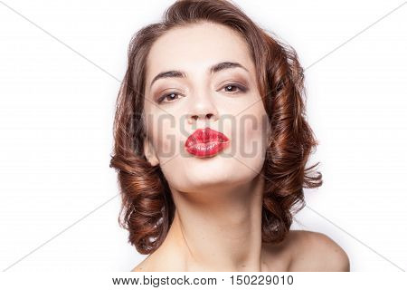 Portrait Of A Beautiful Sexy Woman Giving Kiss