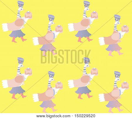 Print for fabric with fairy duck on yellow background. Vector image.