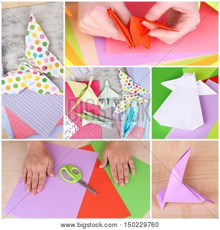 Origami collage. Hobby and handicraft concept.
