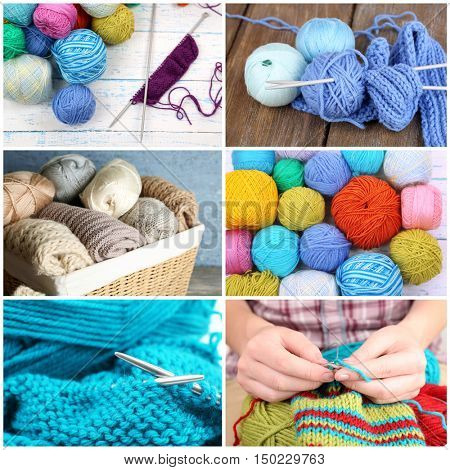 Knitting collage. Female hands knitting. Hobby and handicraft concept.