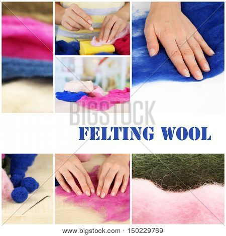 Felting wool collage. Hobby and handicraft concept.