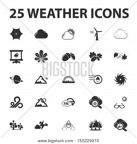 Weather forecast 25 black simple icons set for web design