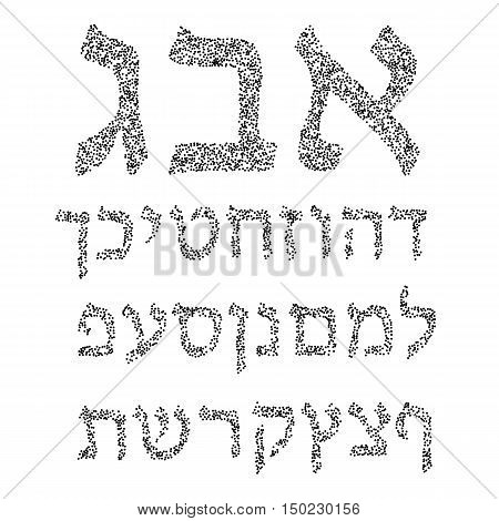 Black Hebrew alphabet of circles. Font. Vector illustration on isolated background.