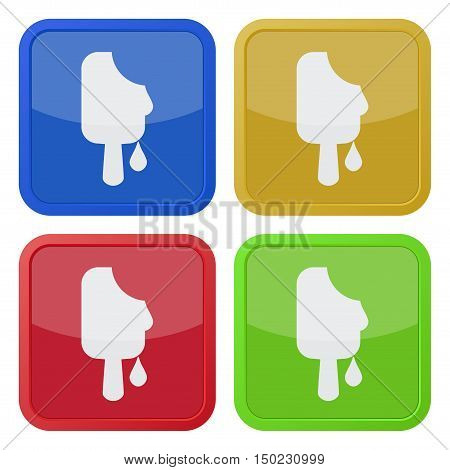 set of four colored square icons with melting stick ice cream