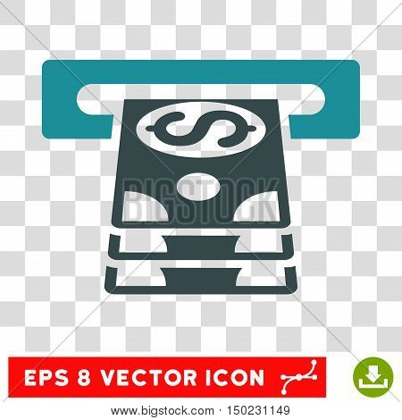 Bank Cashpoint vector icon. Image style is a flat soft blue pictogram symbol.