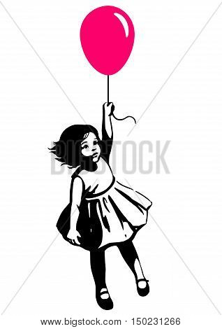 Vector hand drawn black and white silhouette illustration of a cute little toddler girl in a summer dress floating in mid air holding a pink red balloon. Street art stencil style design element