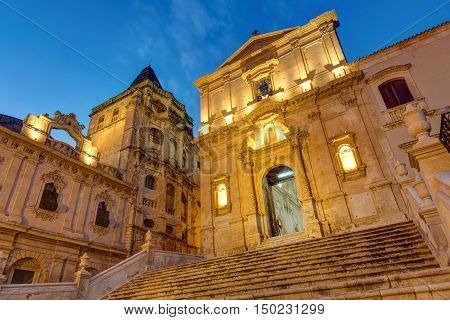 Part of the old baroque town of Noto in Sicily at night