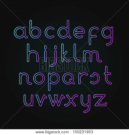 Vector illustration of neon alphabet Font. illuminated letters on dark background