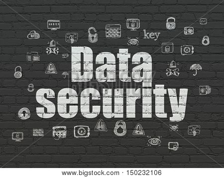 Security concept: Painted white text Data Security on Black Brick wall background with  Hand Drawn Security Icons