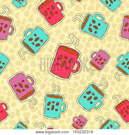 Coffee Drink Hand Drawn Patch Icon Background