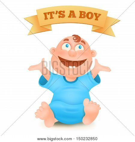 Cute new born smiling baby boy in blue undershirt vector illustration