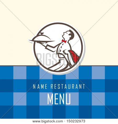 menu design of waiter with tray
