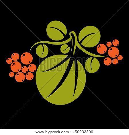 Single Vector Flat Green Leaf With Orange Seeds. Herbal And Botany Art Symbol, Spring Season Stylize