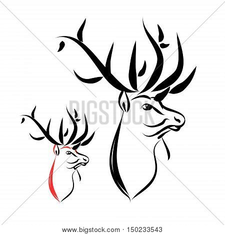 Deer head with large horns. Abstract illustration of a deer on white background. Logo is a forest animal vector abstraction