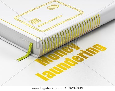 Currency concept: closed book with Gold Credit Card icon and text Money Laundering on floor, white background, 3D rendering