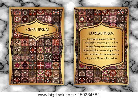 Vintage Card With Tribal Tile Patchwork Abstract Pattern And Ornaments.