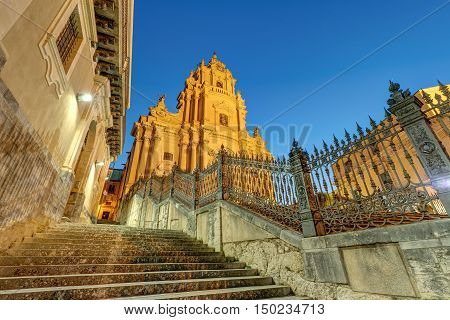 The cathedral of Ragusa Ibla in Sicily at night