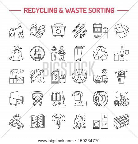 Modern vector line icon of waste sorting recycling. Garbage collection. Recyclable waste - paper glass plastic metal. Linear pictogram with editable stroke for brochure of waste management