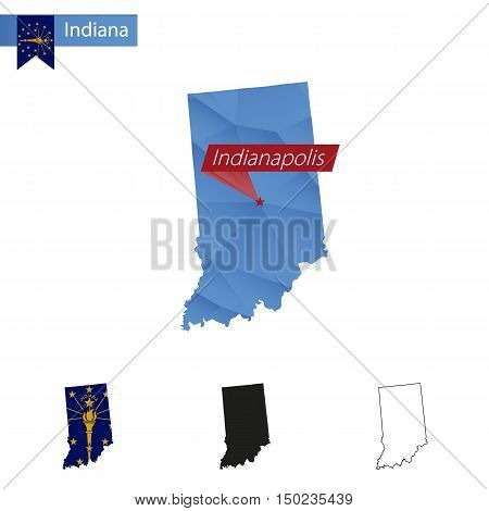 State Of Indiana Blue Low Poly Map With Capital Indianapolis.