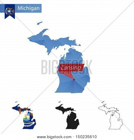 State Of Michigan Blue Low Poly Map With Capital Lansing.