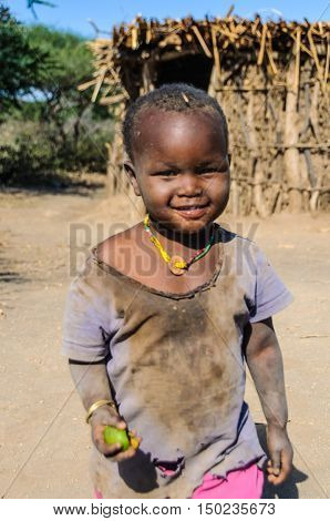 LAKE EYASI, TANZANIA - MAY 29, 2015: Cute kid from a datoga tribe at Lake Eyasi Tanzania