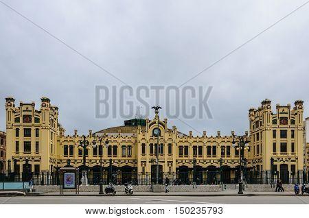 VALENCIA, SPAIN - MARCH 22, 2015: The modernist building of the Estacio del Nord the main train station in Valencia