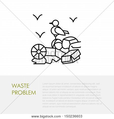 Garbage dump illustration waste problem. Modern vector thin line icon of rubbish dump. Linear dump pictogram for ecology poster. Environmental pollution symbol Garbage dump sign.