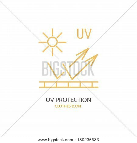 UV protection sun resistant vector line icon. Fabric feature garments property. Ultraviolet light protection sign. Linear wear label textile industry pictogram for clothes. UV protected material.