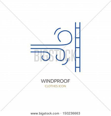 Wind resistant vector line icon. Fabric feature garments property symbol. Wind protection sign. Linear wear windproof label textile industry pictogram for clothes. Wind proof material.