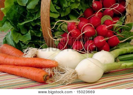 assortment of fresh produce spilling out of basket onto color coordinated tablecloth