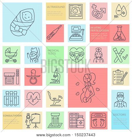 Medical vector line icon of pregnancy and woman health. Elements - gynecology chair maternity reproduction pregnancy check up happy baby doctor ultrasound. Pregnancy poster for hospital clinics