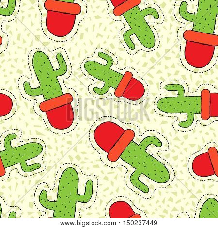 Cactus Plant Hand Drawn Patch On Seamless Pattern