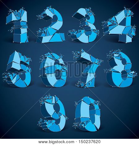 Set of 3d vector low poly blue numbers with white connected lines and dots geometric wireframe luminescent font with fragments. Perspective shattered numeration with thread.